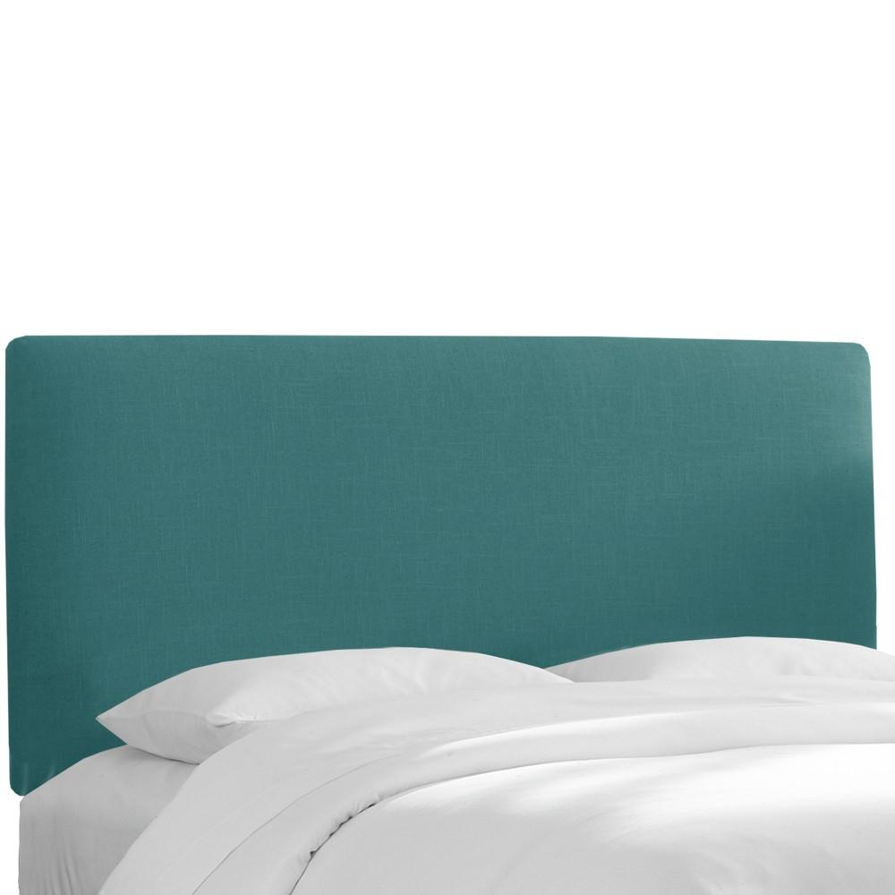 Queen Olivia Upholstered Headboard Teal Linen Skyline Furniture