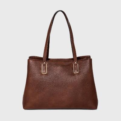 Bueno Snap Closure Tote Handbag - Brown