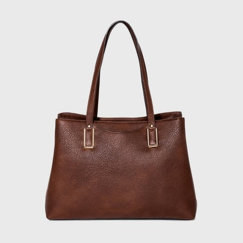 Bueno Snap Closure Tote Handbag Brown