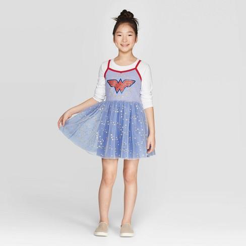 Girls' Wonder Woman Shield Star Dress - Purple - image 1 of 3