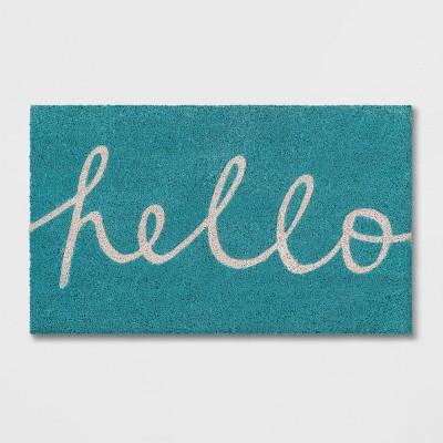 """Blue Hello Cursive Doormat 1'6""""x2'6"""" - Room Essentials™"""