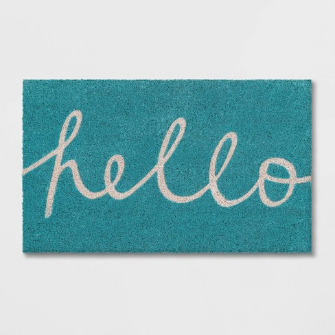 "1'5""x2'5""Blue Hello Cursive Doormat - Room Essentials™ - image 1 of 4"