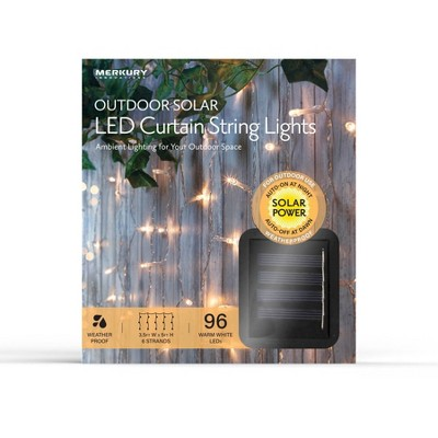 3.5' x 5' Outdoor Solar LED Curtain String Lights - Clear Wire - Merkury Innovations