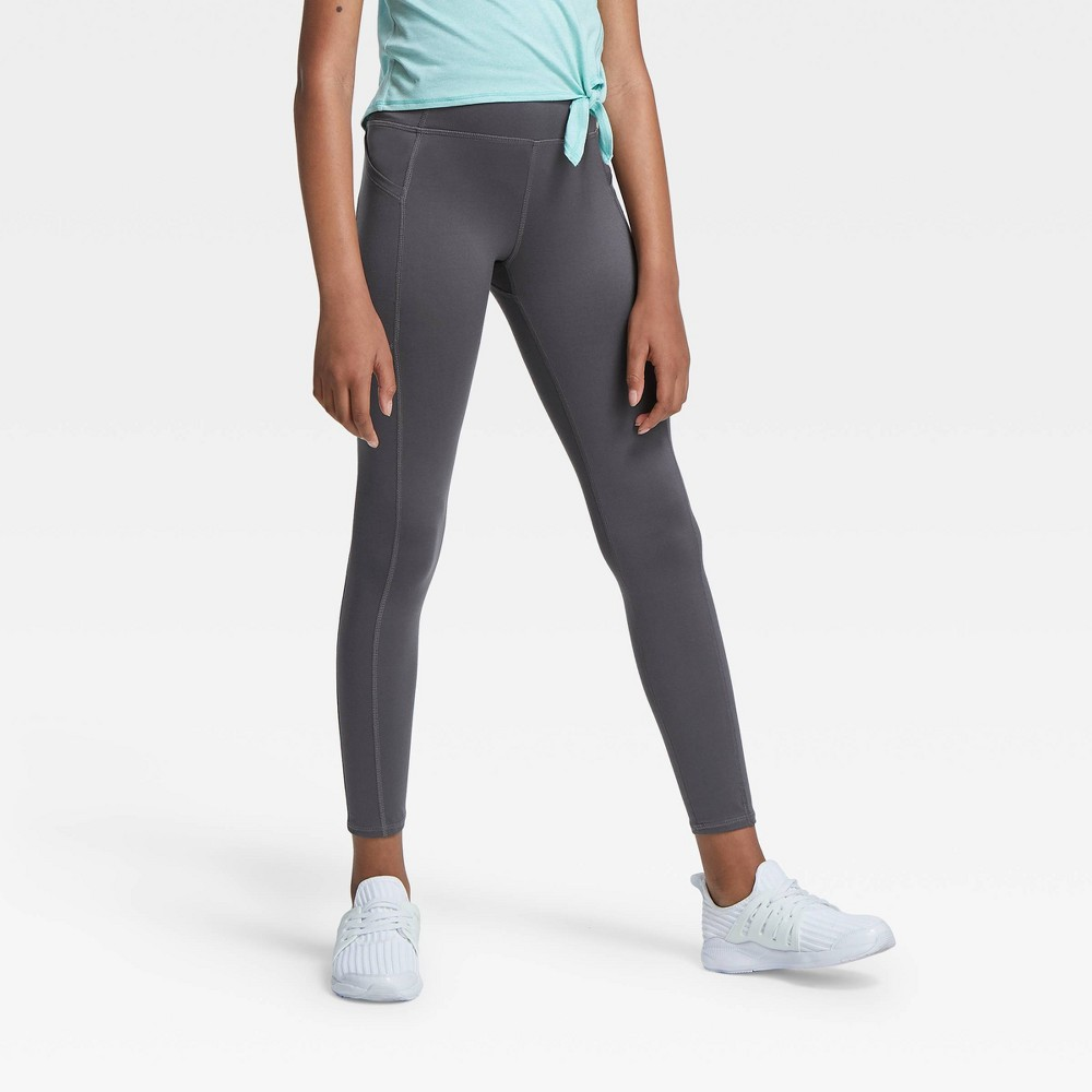 Girls' Side Pocket Leggings - All in Motion Gray XS was $20.0 now $10.0 (50.0% off)