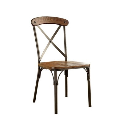 Set of 2 Wood and Metal Side Chairs with X Shape Back Brown/Bronze - Benzara