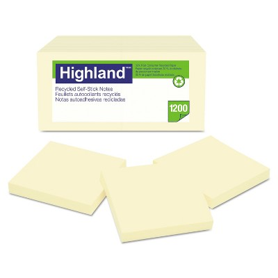 Highland Recycled Self Stick Notes 3 x 3 Yellow 100 Sheets/Pad 12 Pads/Pack 6549RP