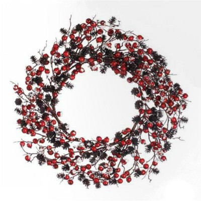 Napco Red Berry and Pine Cone Snow Flocked Artificial Christmas Wreath - 24 inches Unlit