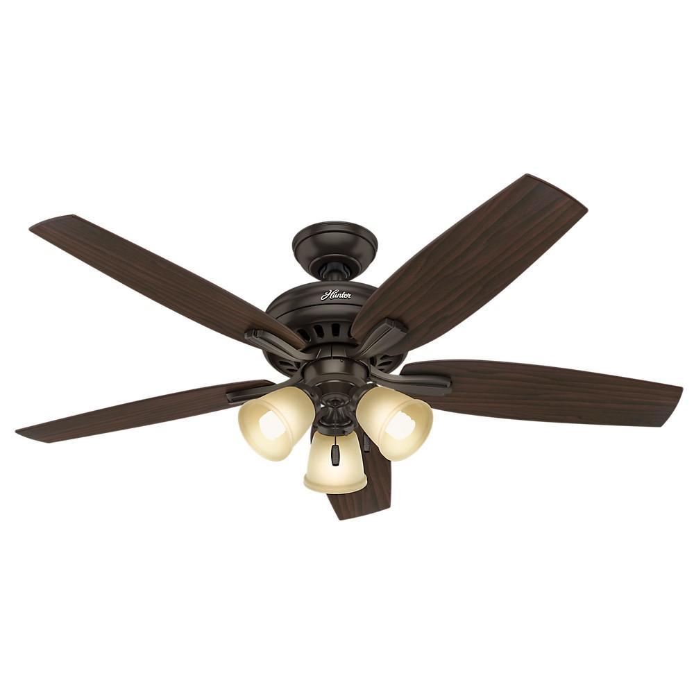 Image of 52 Newsome Premier Bronze Ceiling Fan with Light - Hunter Fan