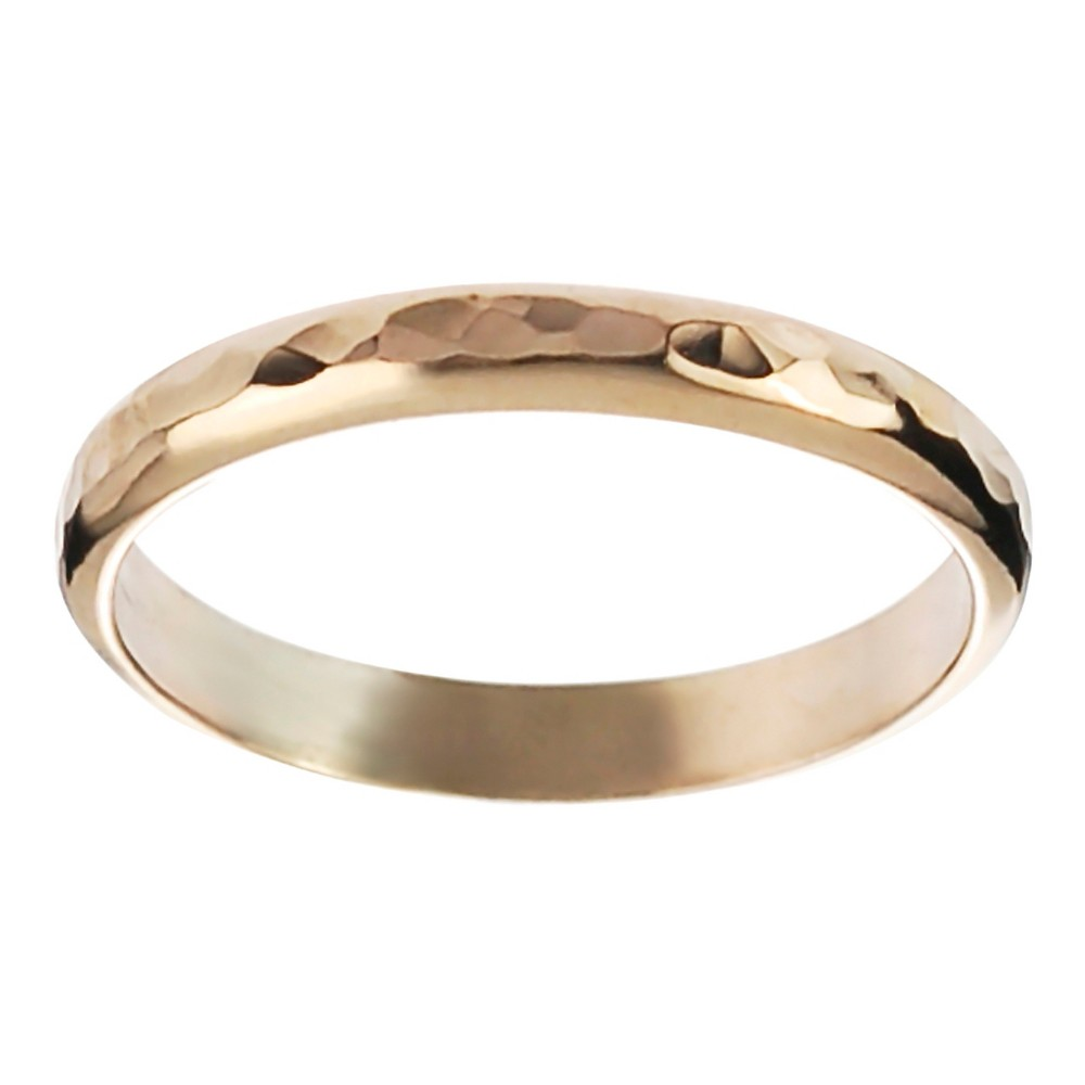 Women's Journee Collection Handcrafted Hammered Band in Sterling Silver - Gold, 6 (3.2 mm)