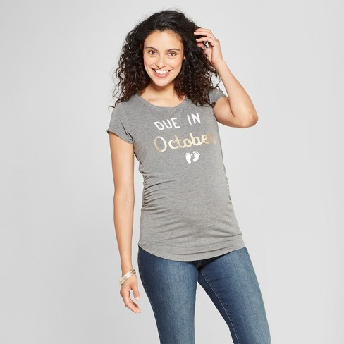 Maternity Due In October Short Sleeve Graphic T Shirt