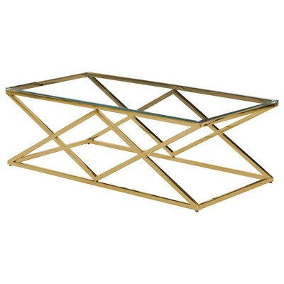 Rectangular Stainless Steel and Glass Coffee Table in Clear/Gold - Best Master Furniture