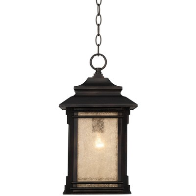 """Franklin Iron Works Rustic Outdoor Ceiling Light Hanging Lantern Walnut Bronze 19 1/4"""" Frosted Glass Damp Rated for Porch Patio"""