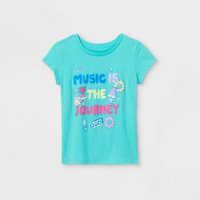Girls' Trolls Music is the Journey Short Sleeve Graphic T-Shirt - Blue