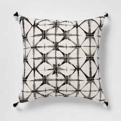 Shibori Printed Square Throw Pillow Black - Opalhouse™