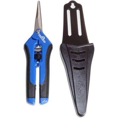 Hydrofarm HGPP400C Stainless Steel Precision Curved Blade Gardening Scissor Pruner with Holster and Safety Lock for Plants and Flower Trimming, Blue