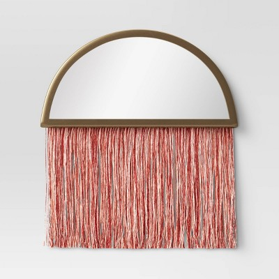 Macrame Fringe Wall Mirror Pink - Project 62™