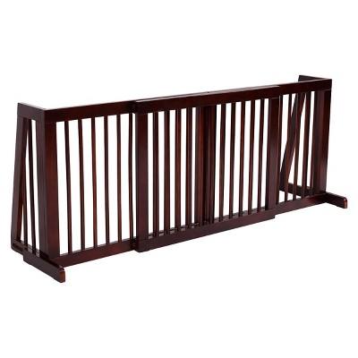 Costway Folding Adjustable 3 Panel Wood Pet Dog Slide Gate Safety Fence
