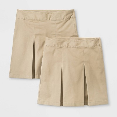 Girls' 2pk Stretch Uniform Pleated Twill Skorts - Cat & Jack™ Beige