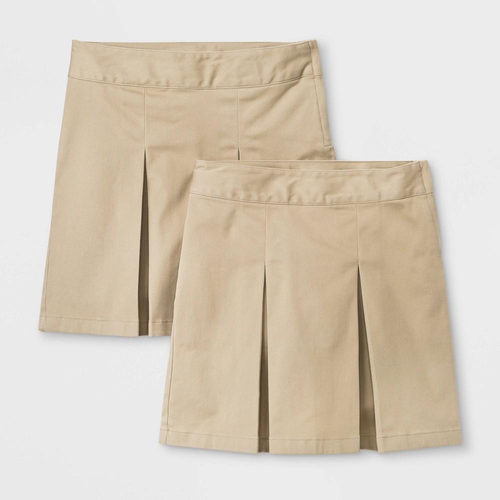 Girls 2pk Stretch Uniform Pleated Twill Skorts - Cat & Jack Beige 8 Plus Cheap