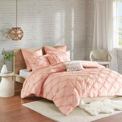 Pink Stella Embroidered Duvet Cover Set (Full/Queen)7pc