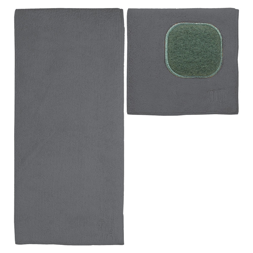 Image of 2pc Ultra Absorbent Solid Microfiber Kitchen Towel With Scrubber Cloth Gray - Mu Kitchen