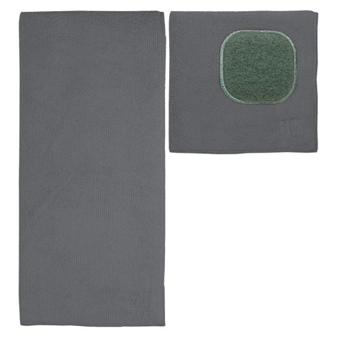 2pc Ultra Absorbent Solid Microfiber Kitchen Towel With Scrubber Cloth Gray  - Mu Kitchen