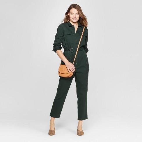 f50074f033d Women s Long Sleeve Structured Jumpsuit - Universal Thread™ Green L ...