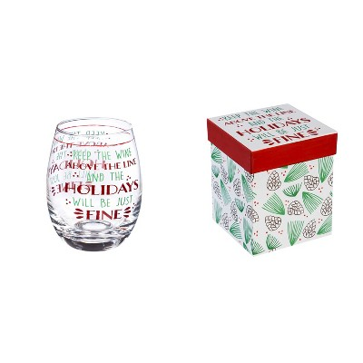 Cypress Home Stemless Wine Glass W/ Box, 17 Oz, Keep The Wine Above The Line