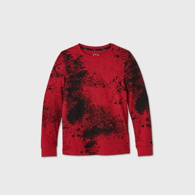 Boys' Long Sleeve Splatter Graphic T-Shirt - art class™ Red