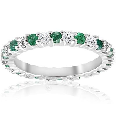 Pompeii3 1 1/2ct Emerald Diamond Eternity Ring 14K White Gold