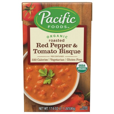 Pacific Foods Organic Gluten Free Vegetarian Roasted Red Pepper & Tomato Bisque - 17.6oz