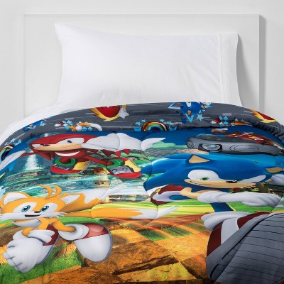 Twin Sonic the Hedgehog Run Rings Around You Comforter
