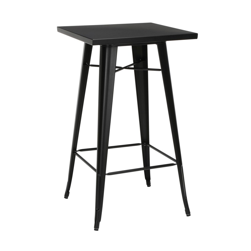 "Image of ""24"""" Industrial Modern Square Bar Table Galvanized Steel Indoor/Outdoor Table Black - OFM"""