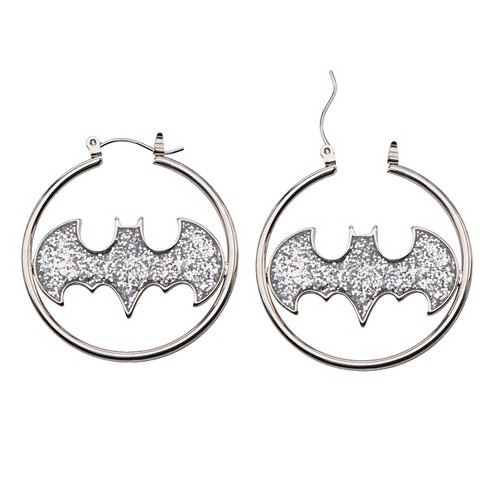 Women's DC Comics® Batman Logo Stainless Steel Glitter Hoop Earrings - Silver - image 1 of 1