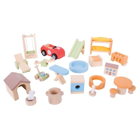 Bigjigs Toys Wooden Home & Garden Dollhouse Furniture Set - image 1 of 2