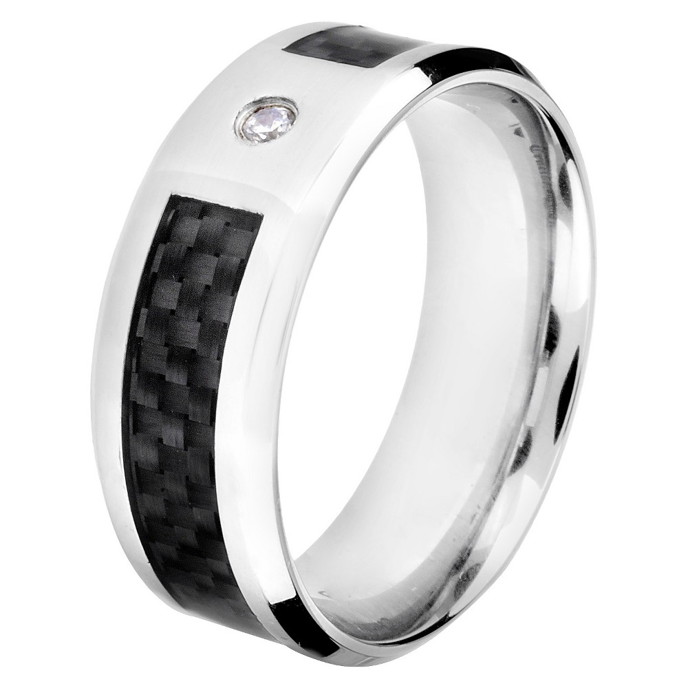 Men's Crucible Stainless Steel and Carbon Fiber Ring with Cubic Zirconia - Black (11), Silver