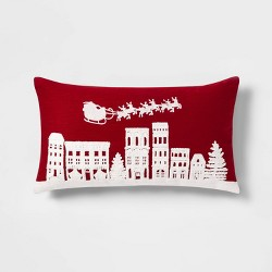 Embroidered Holiday Village Scene Oversize Lumbar Throw Pillow Red/White - Threshold™