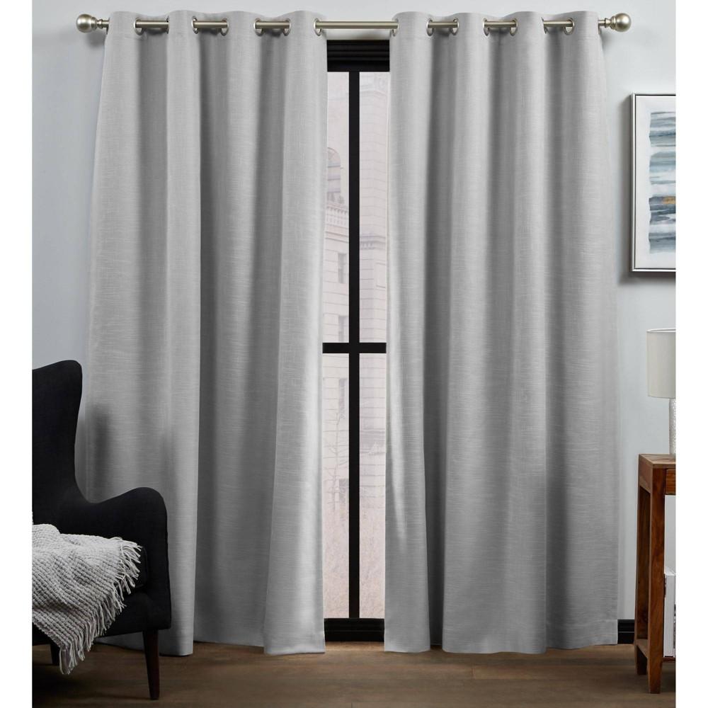 "Set of 2 96""x52"" Bensen 100% Blackout Grommet Top Curtain Panel Silver - Exclusive Home"