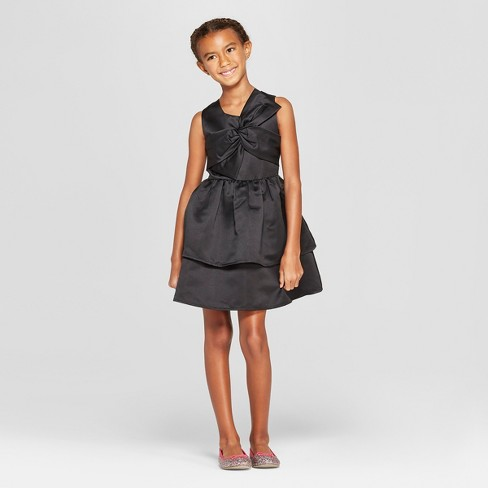 Girls' Satin Dress with Bow - Cat & Jack™ - image 1 of 3