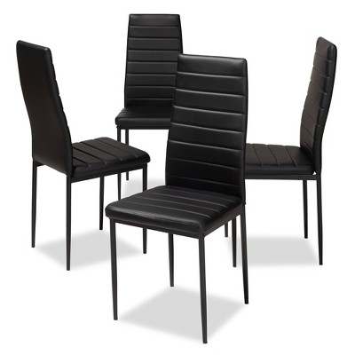 Set of 4 Armand Modern and Contemporary Faux Leather Upholstered Dining Chairs - Baxton Studio