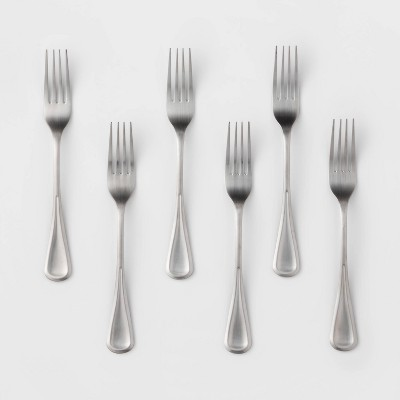 6pk Stainless Steel Olisa Satin Dinner Forks - Threshold™