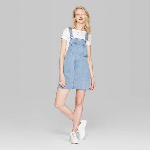 a516d2d6e91 Women s Sleeveless Denim Pinafore Mini Dress - Wild Fable™ Medium Wash