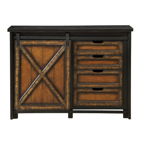 Barnhill Four Drawer One Sliding Door Media Cabinet - Black and Brown  - Christopher Knight Home - image 1 of 4