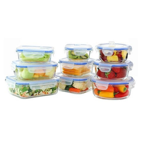 Kinetic GoGreen Glasslock Elements 18-Piece Oven Safe Glass Food Storage Container Set with Vented Lid - image 1 of 4