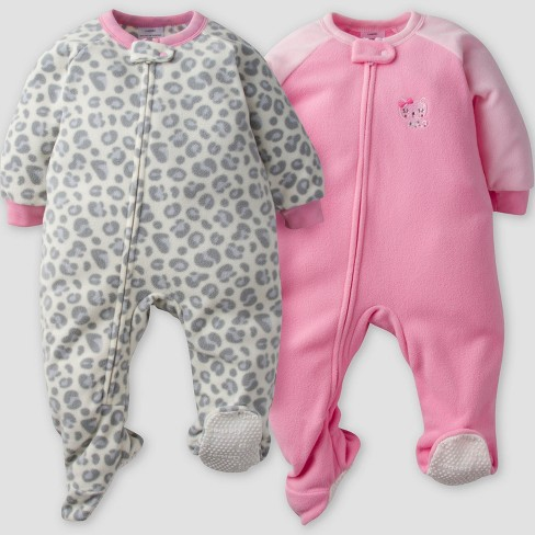 2f3fe2bc1705 Gerber® Baby Girls' 2pk Leopard Micro Fleece Blanket Sleeper - Pink ...