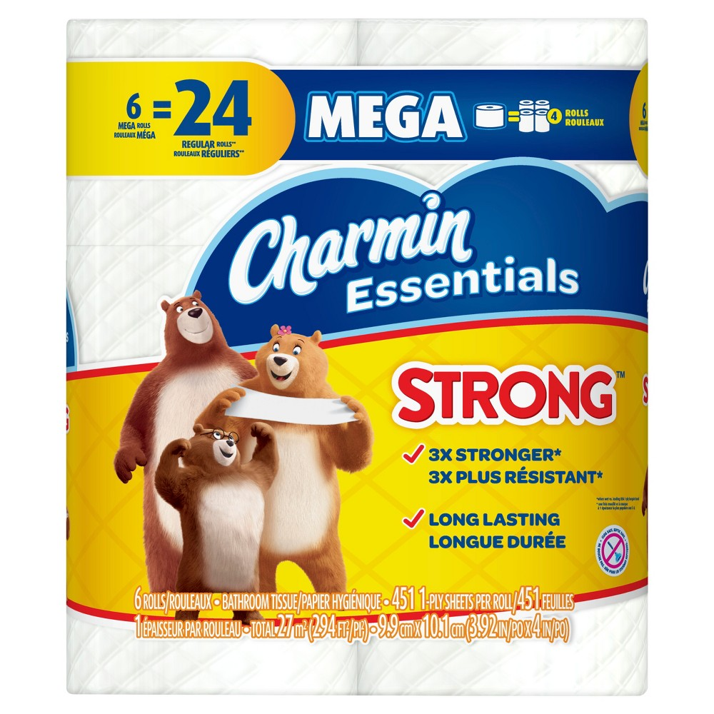 Charmin Essentials Strong Toilet Paper - 6 Mega Rolls
