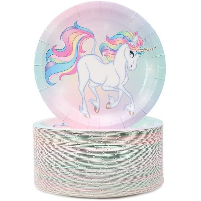 """Blue Panda 80 Packs Rainbow Unicorn Theme Party Disposable Paper Plates 7"""" for Birthday Party"""