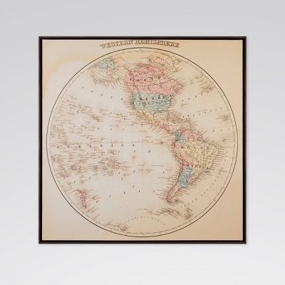 "27"" x 27"" World Map Framed Printed Canvas Wall Art - Threshold™"