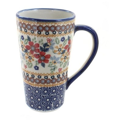 Blue Rose Polish Pottery Red Daisy Large Coffee Mug