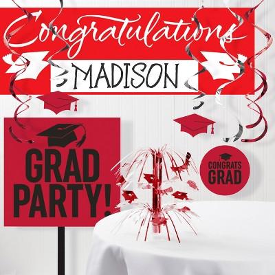 Red Graduation School Decorations Kit